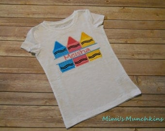 Custom Order: Split Crayons with Name Tee School Tee Pre-School Kindergarten