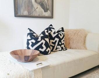 Designer Pillow Cover Handmade Kuba Cloth Pillow Cover Home Decor Decorator Fabrics Black and Khaki