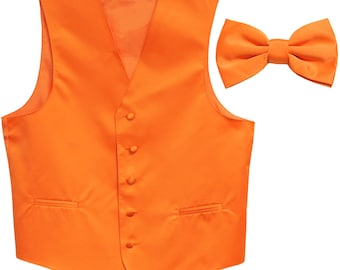 Men's Solid Orange Polyester Vest with Pre-Tied Bowtie, for Formal Occasions