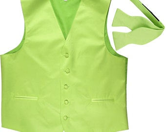 Men's Solid Lime Green Polyester Vest with Self Tie Bowtie, for Formal Occasions