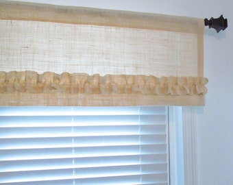 Ivory/Off White BURLAP Ruffled Valance Rustic Curtain Your Choice the Width  Handmade in the USA