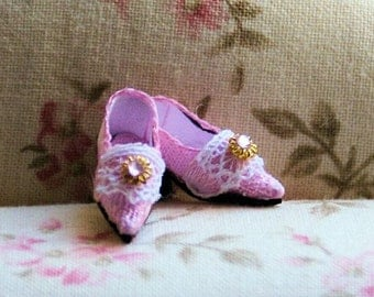 Miniature silk brocade shoes - pink brocade decorated with lace and rhinestone