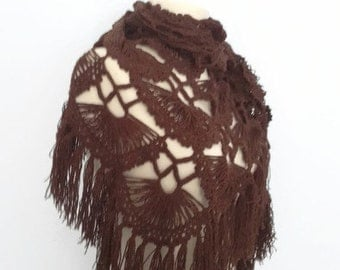 Handmade Crochet Dark Brown Shawl-Free Shipping
