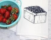 Flour Sack Towel - Blueberry Print - Tea Towel - Hand Screen Printed - Dishcloth - 100% Cotton - Blueberry Kitchen Towel - Fruit Print
