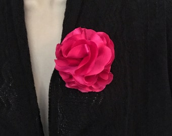 Hot Pink Flower Brooch, Satin Flower, Hot Pink Satin Flower, Women's Accessories, Satin Flower Accessory, Hot Pink Accessory