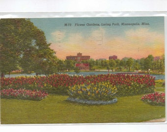 "Minnesota, Vintage Postcard, ""Flower Gardens, Loring Park, Minneapolis, Minn.,""  1958, #822."