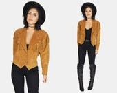 FRINGE Cognac Brown SUEDE Leather Jacket Vtg 80's WILSONS Fitted Stitched Southwestern Boho Hippie Western Rancher Stretch - Small/Medium