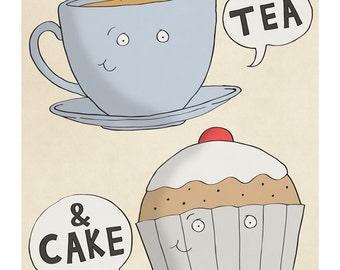 Tea and Cake - Illustration Art Print