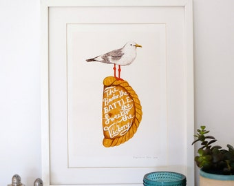 A4 Giclee print: Victory Seagull and Pasty