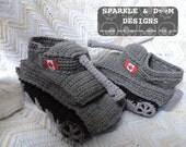 Tank Slippers, crocheted, handmade