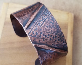 Fold Formed Copper Cuff Bracelet w/ Mixed Textures, Copper Bracelet, Copper Cuff, Rustic Jewelry