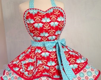 Scandanavian Spring Floral Pin Up Apron, Red and Aqua /Women's Apron