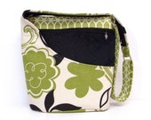 Cross Body / Shoulder Bag Black and Green Floral