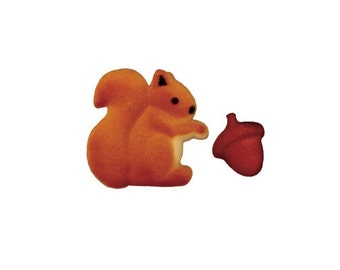 Squirrel And Acorn Sugar Decorations Toppers Cupcake Cake Cookies Birthday Favors Party 12 Count