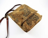 Golden Brown TAPESTRY CROSS-BODY Bag  / Lined w Pockets, Snaps & Adjust. Leather Strap / From Upcycled Paisley Tapestry / Eco Friendly #035