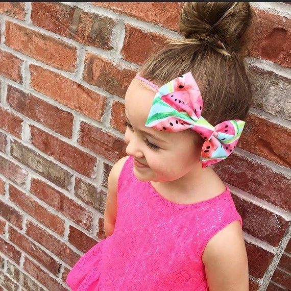 NEW WATERMELON FIELDS Large Bow Headband or Clip - XLarge Bow Tie Headband - Spring, Summer, girl, baby, toddler, woman, bow