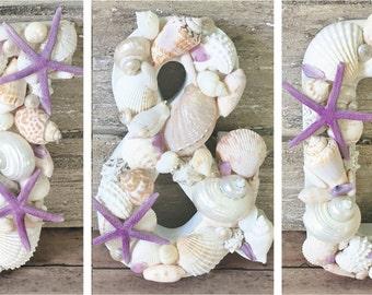 3 PC Beach Wedding Decor, Shell Letters, Shell Monogram, Coastal Decor, Seashell Letters, Custom Shell Letters, Seashell Decor, Set of 3