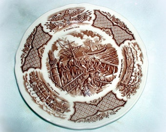 Vintage Alfred Meakin Fair Winds Bread Plate Historical English Staffordshire Nautical Scene