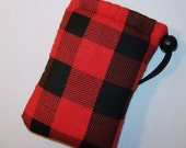 """Pipe Pouch, Plaid Pouch, Padded Pipe Case, Glass Pipe Bag, Smoke Bag, Padded Bag, Red Black Bag, Grunge Pouch, Hipster Bag - 5"""" DRAWSTRING"""