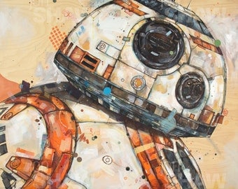 "BB-8 12"" x 12"" Digital Art Print Of Original Ink and Acrylic Painting"