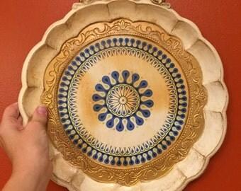 Italian tray, Florentine tray, molded tray, white tray, shabby chic tray, vintage serving tray, round tray, tray with handles, Made in Italy