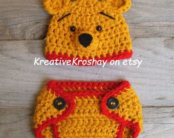 "Winnie the Pooh ""inspired"" Bear Hat &  Diaper Cover  (newborn OR 3-6 month size)"
