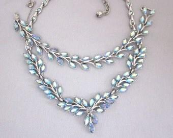 BOGOFF Rhinestone Necklace Set Bogoff Rhinestone Bracelet Set Blue Rhinestone Set Aurora Borealis Signed Bogoff Jewelry