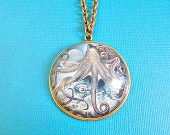 Octopus Necklace Under The Sea, Nautical necklace, nautical jewelry