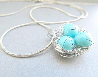 Turquoise Birds Nest Necklace