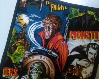 MOVIE MONSTER potholder, Dracula, The Mummy, Frankenstein, Wolfman