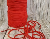"1/8"" Skinny Elastic - Red Flat FOE Red P299 Fold Over Elastic -  FOE 1/8"" inch Baby Headbands - 5 or 10 yards Skinny Elastic 4mm"