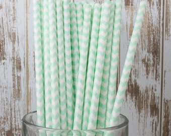 "25 Mint Chevron vintage stripe drinking straws - with FREE Blank Flag Template - see also ""Personalized"" Flags"