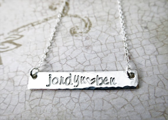 Silver Bar Necklace | Name Plate Necklace | Personalized Sterling Silver Jewelry | Engraved Name | Handstamped Name | Custom Jewelry