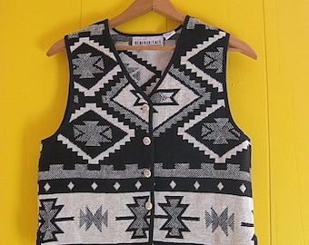 on sale Geometric Designs Vest Vintage Clothing Black and White Bone Buttons Ethnic Style Boho Fashion