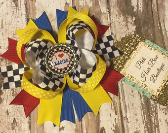 I Love Racing Checker Flag Boutique Hairbow