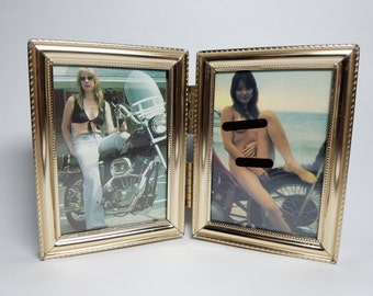 Framed biker chicks from 80s Easyriders magazine - naked lady and tough broad with motorcycles - mature vintage creeps only