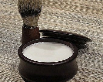 Men's Shaving Kit, Shave Set Bowl with Lid in Mahogany Finish Wood Bowl
