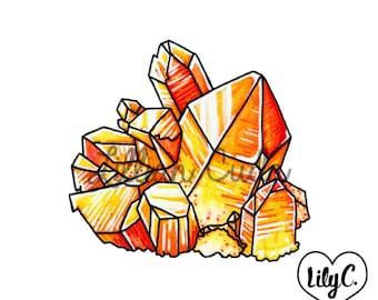 SALE Tangerine Quartz Crystal Mini Art Print