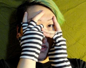 OOAK Upcycled striped fingerless gloves