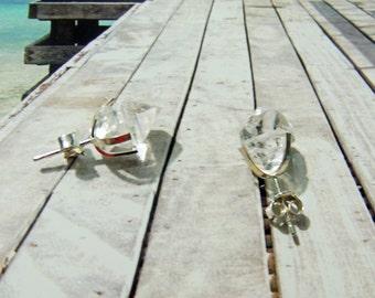 Herkimer diamond earrings rods silver 925 12*12*8mm