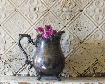 Vintage Silver Plated Pitcher, Shabby Cottage Farmhouse Ornate Home Decor