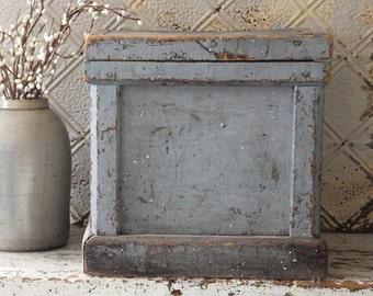 Antique Primitive Blue Gray Painted Wooden Box, Primitive Antique Decor