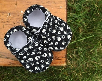 Baby Shoes for Boys - Black with White Glow-in-the-Dark Skulls - Custom Sizes 0-24 months 2T-4T