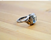 ON SALE 1950s 14 Karat Gold and Sterling Silver Ring, size 6.5, with Faux Aquamarine