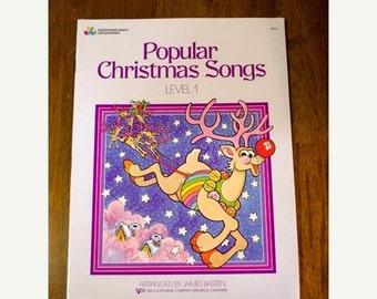 ON SALE Vintage Music Book, Popular Christmas Songs