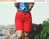 SALE Vintage 80's Red High Waisted Shorts