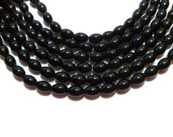 Black Stone - Oval or Rice - 9mm x 6mm - 44 Beads - Full Strand - Shiny - Blackstone Stone