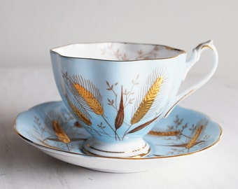 Queen Anne Vintage Teacup / Pale Blue with Golden Wheat / Tea Cup and Saucer