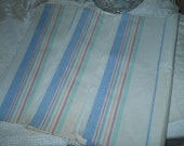 3- 1950's Linen Dish Towels Pink Blue Yellow on White Background UnHemmed Linen Towels Vintage Crafts & Sewing Supplies