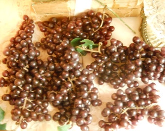 Vintage Christmas Tree Grape Clusters 5 Large Grape Clusters These Decorated an Aubergine Eggplant Colored Christmas Tree